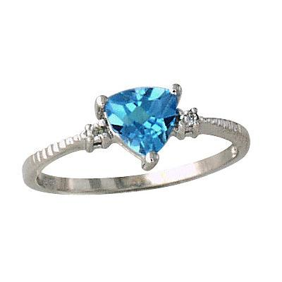 Blue Topaz and Diamond Ring 14k White Gold