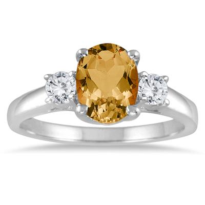 1.75 Citrine and Diamond Three Stone Ring 14K White Gold