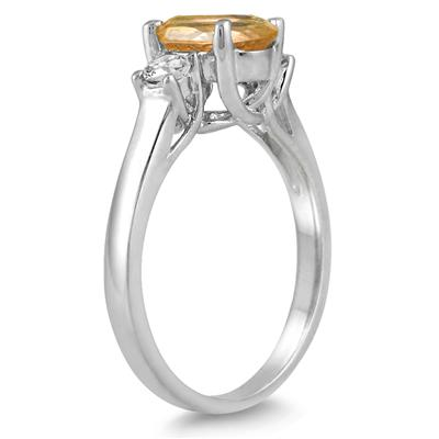 1 3/4 Carat Citrine and Diamond Three Stone Ring 14K White Gold