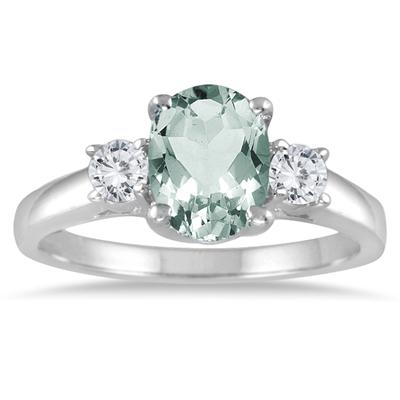 1.75 Green Amethyst and Diamond Three Stone Ring 14K White Gold