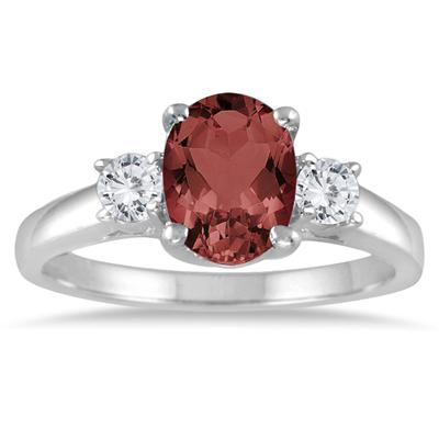 1 3/4 Garnet and Diamond Three Stone Ring 14K White Gold