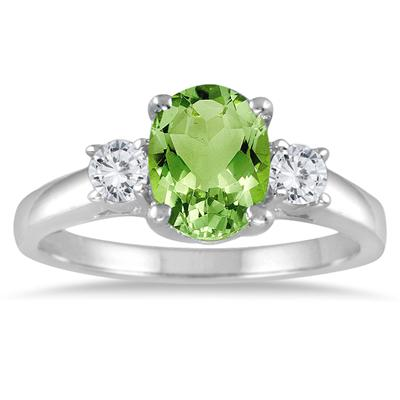 1.75 Peridot and Diamond Three Stone Ring 14K White Gold