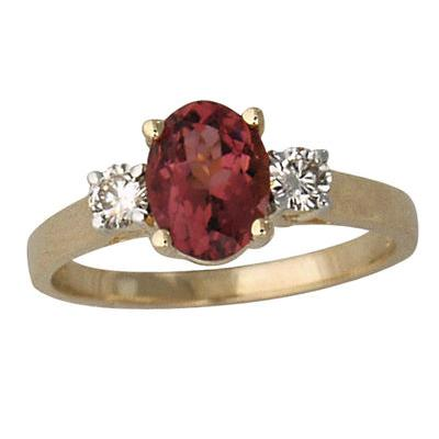 Pink Tourmaline and Diamond Three Stone Ring 14K Yellow Gold