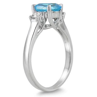 1 3/4 Carat Blue Topaz and Diamond Three Stone Ring 14K White Gold