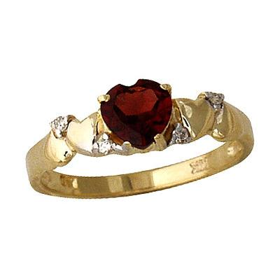 Garnet and Diamond Heart Ring in 14K Yellow Gold