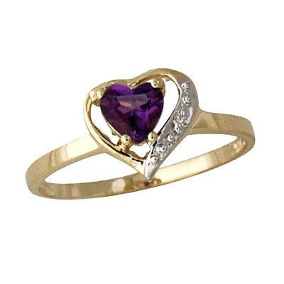 Amethyst and Diamond Heart Ring in 14K Yellow Gold