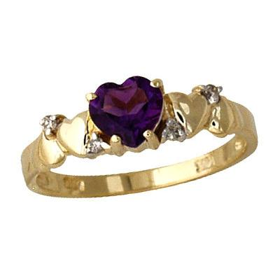 Amethyst and Diamond Heart Ring 14K Yellow Gold
