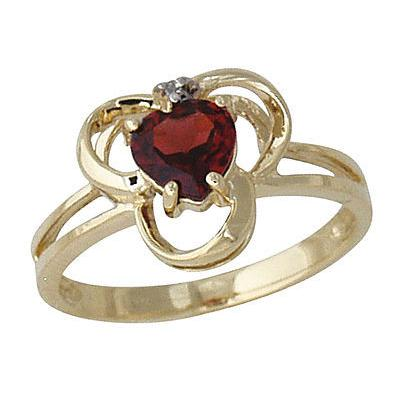 14-kt. Garnet& Diamond Ring Yellow Gold