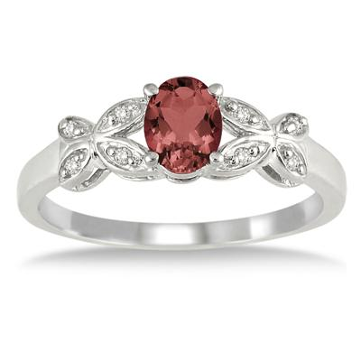 1/4 Carat Oval Garnet and Diamond Ring in .925 Sterling Silver