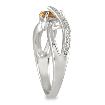 6MM Heart Shape Citrine and Diamond Ring in .925 Sterling Silver