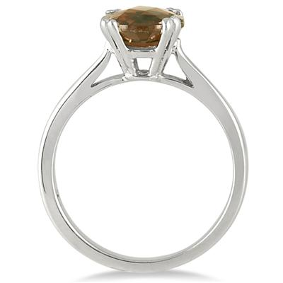 8MM Round Smokey Quartz Ring in .925 Sterling Silver