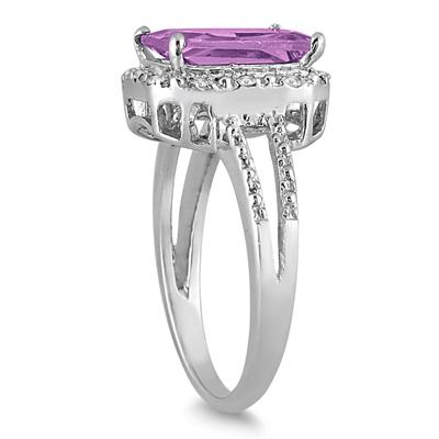 4.50 Carat Emerald Cut Amethyst and Diamond Ring in .925 Sterling Silver