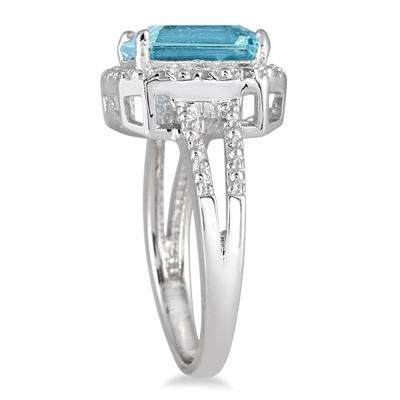 Emerald Cut Blue Topaz and Diamond Ring in .925 Sterling Silver