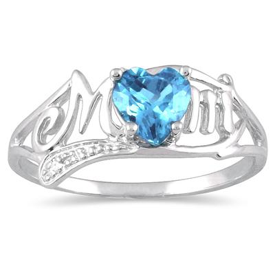 Blue Topaz and Diamond MOM Heart Ring in .925 Sterling Silver