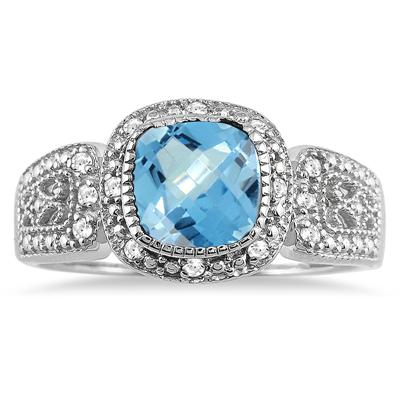 1.50 Carat Cushion Cut Blue Topaz and Diamond Antique Ring in .925 Sterling Silver