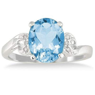 3 1/4 Carat Oval Blue Topaz and Diamond Ring in 10K White Gold