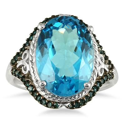 7.50 Carat Oval Blue Topaz and Blue Diamond Ring in 10K White Gold
