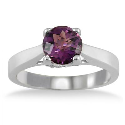 1.30 Carat Amethyst and Diamond Ring in .925 Sterling Silver