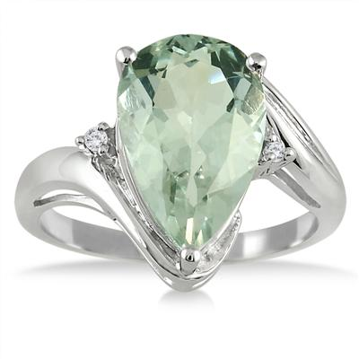 3.85 Carat Pear Shape Green Amethyst and Diamond Ring in .925 Sterling Silver