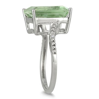 5.50 Carat Emerald Cut Green Amethyst and Diamond Ring in .925 Sterling Silver