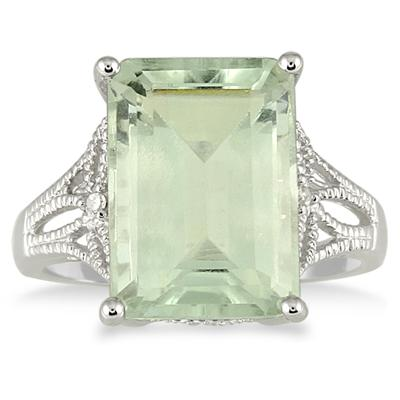 7 Carat Emerald Cut Green Amethyst and Diamond Ring in 10K White Gold