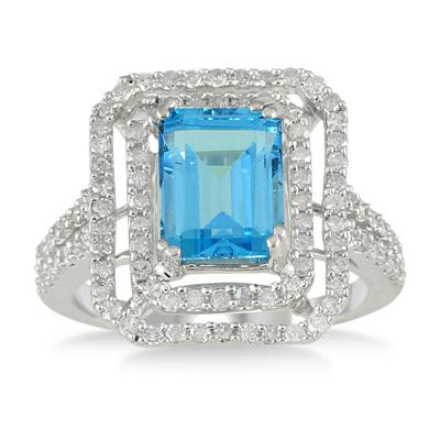 3.70 Carat Emerald Cut Blue Topaz and Diamond in 10K White Gold