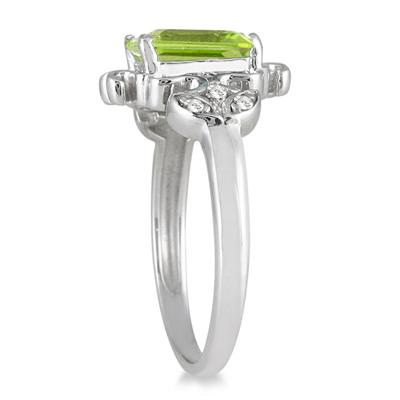 2 Carat Emerald Cut Peridot and Diamond Ring in .925 Sterling Silver