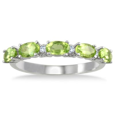 Peridot and Diamond Five Stone Band in .925 Sterling Silver
