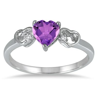 Triple Heart Amethyst and Diamond Ring in .925 Sterling Silver