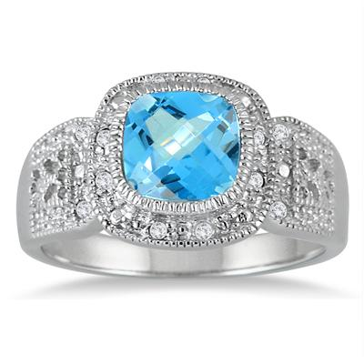 1.75 Carat Cushion Cut Blue Topaz and Diamond Antique Ring in .925 Sterling Silver