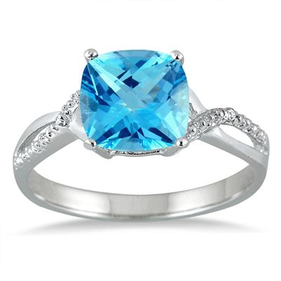 2.50 Carat Cushion Cut Blue Topaz and Diamond Ring in .925 Sterling Silver