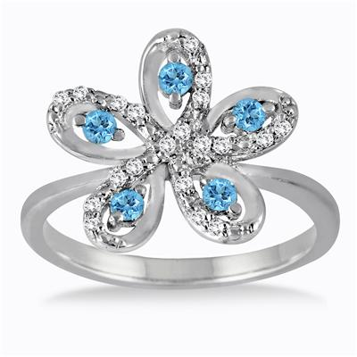 Blue Topaz and Diamond Flower Ring in .925 Sterling Silver