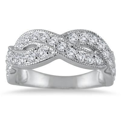 1.50 Carat White Topaz Twist Ring in .925 Sterling Silver