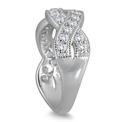 1.50 Carat White Topaz Twist Ring in .925 Sterling Silver