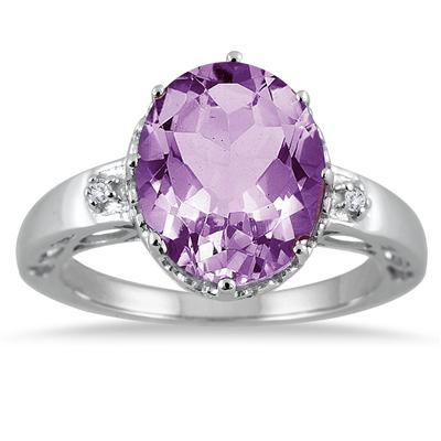 4.50 Carat Oval Amethyst and White Topaz Ring in .925 Sterling Silver