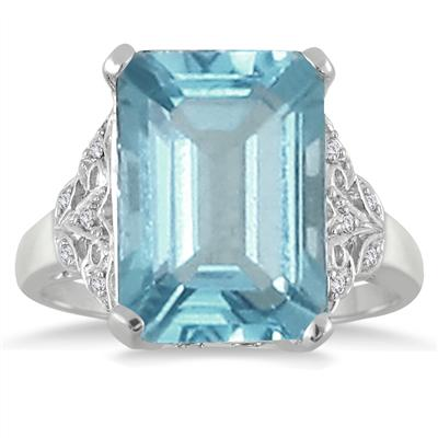 9.50 Carat Emerald Cut Blue Topaz and Diamond Ring in .925 Sterling Silver