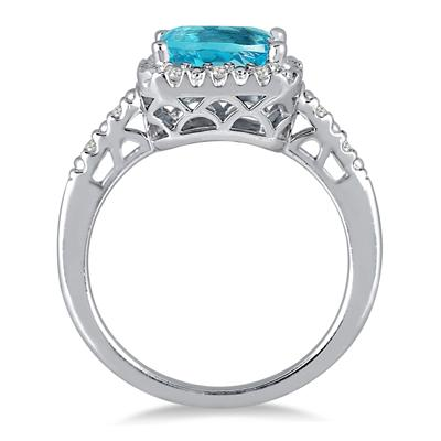 2 Carat Emerald Cut Blue Topaz and Diamond Ring in .925 Sterling Silver