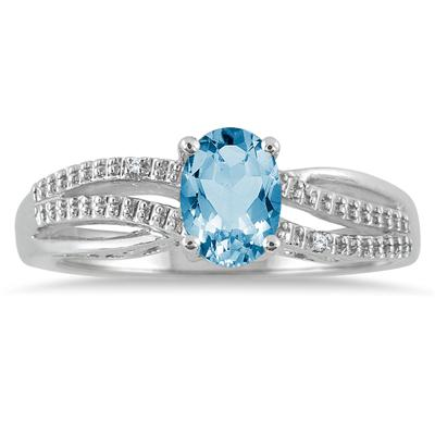 7x5mm Blue Topaz and Diamond Ring in .925 Sterling Silver