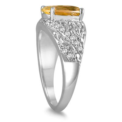 2.40 Carat Oval Citrine and Diamond Ring in 10K White Gold