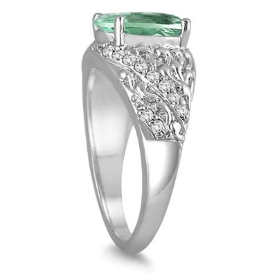 2.40 Carat Oval  Green Amethyst and Diamond Ring in 10K White Gold
