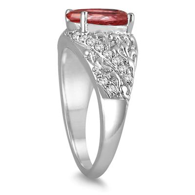 2.80 Carat Oval Garnet and Diamond Ring in 10K White Gold