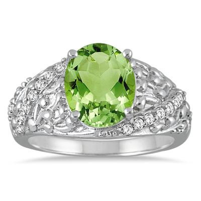 2.50 Carat Oval Peridot and Diamond Ring in 10K White Gold