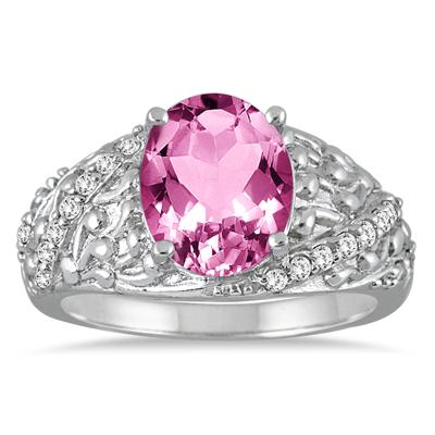 2.40 Carat Oval Pink Topaz and Diamond Ring in 10K White Gold