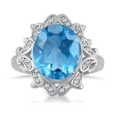 5 Carat Blue Topaz and Diamond Ring in 10K White Gold