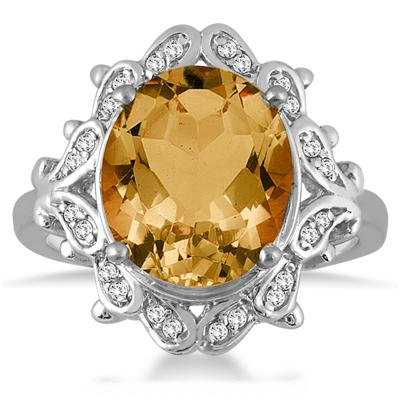5 Carat Citrine and Diamond Ring in 10K White Gold