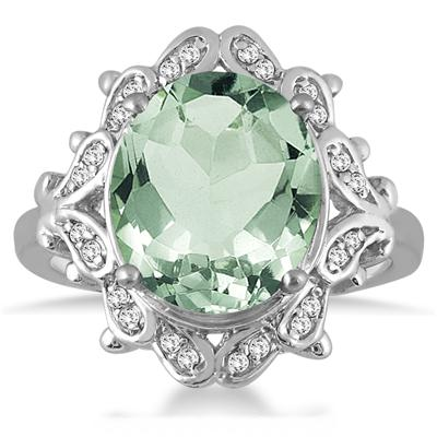5.00 Carat Green Amethyst and Diamond Ring in 10K White Gold