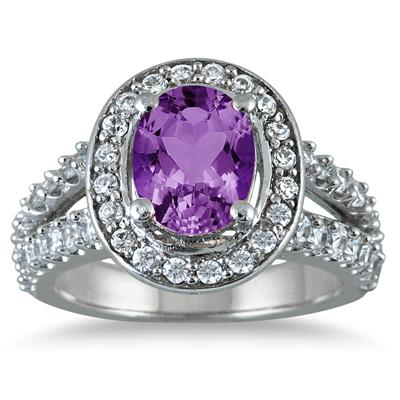 2.00 Carat TW Oval Amethyst and Diamond Ring in 14K White Gold