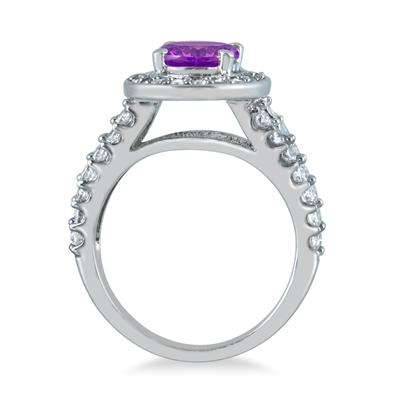 2 Carat TW Oval Amethyst and Diamond Ring in 14K White Gold