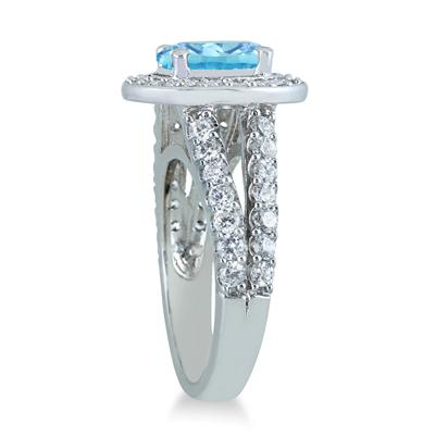 2.00 Carat TW Oval Blue Topaz and Diamond Ring in 14K White Gold