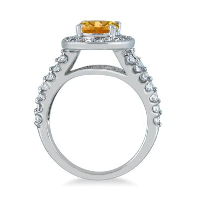 2 Carat TW Oval Citrine and Diamond Ring in 14K White Gold